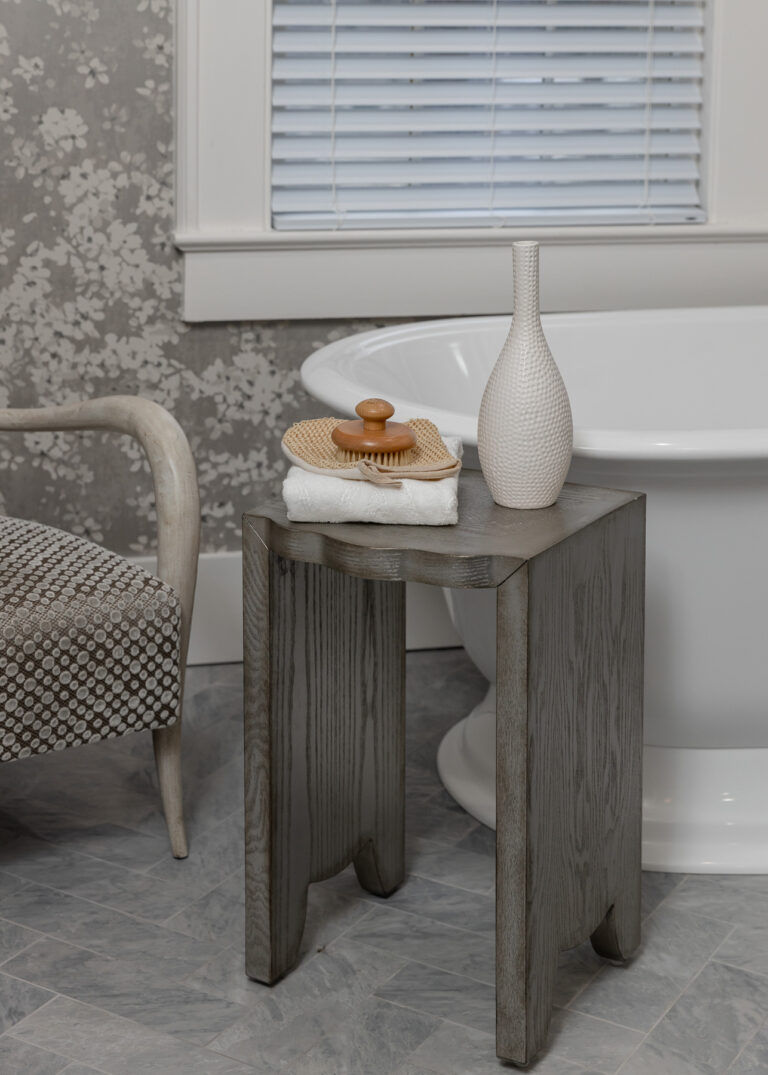 silver and grey accent side table