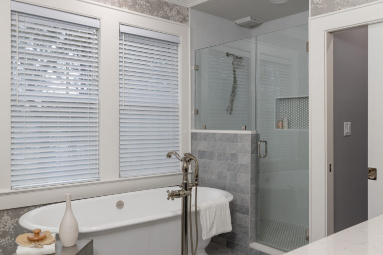 grey shower tile, victoria and albert tub, walk in master shower