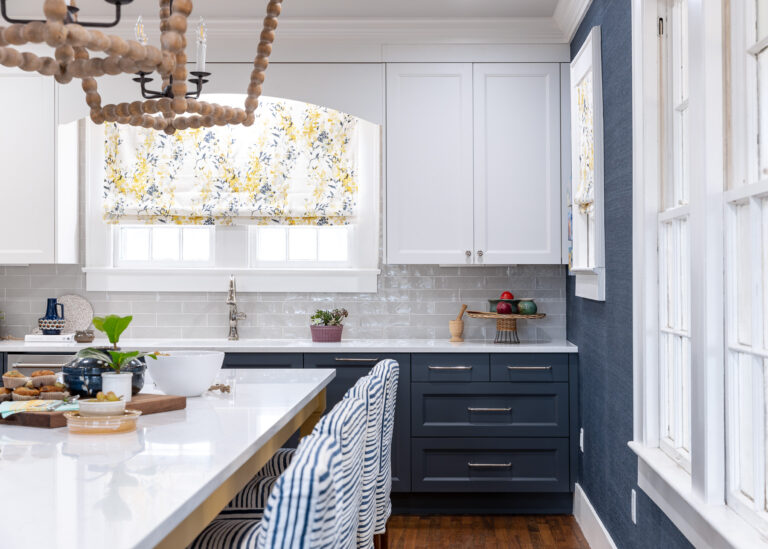 Blue lower cabinets and White upper Cabinets