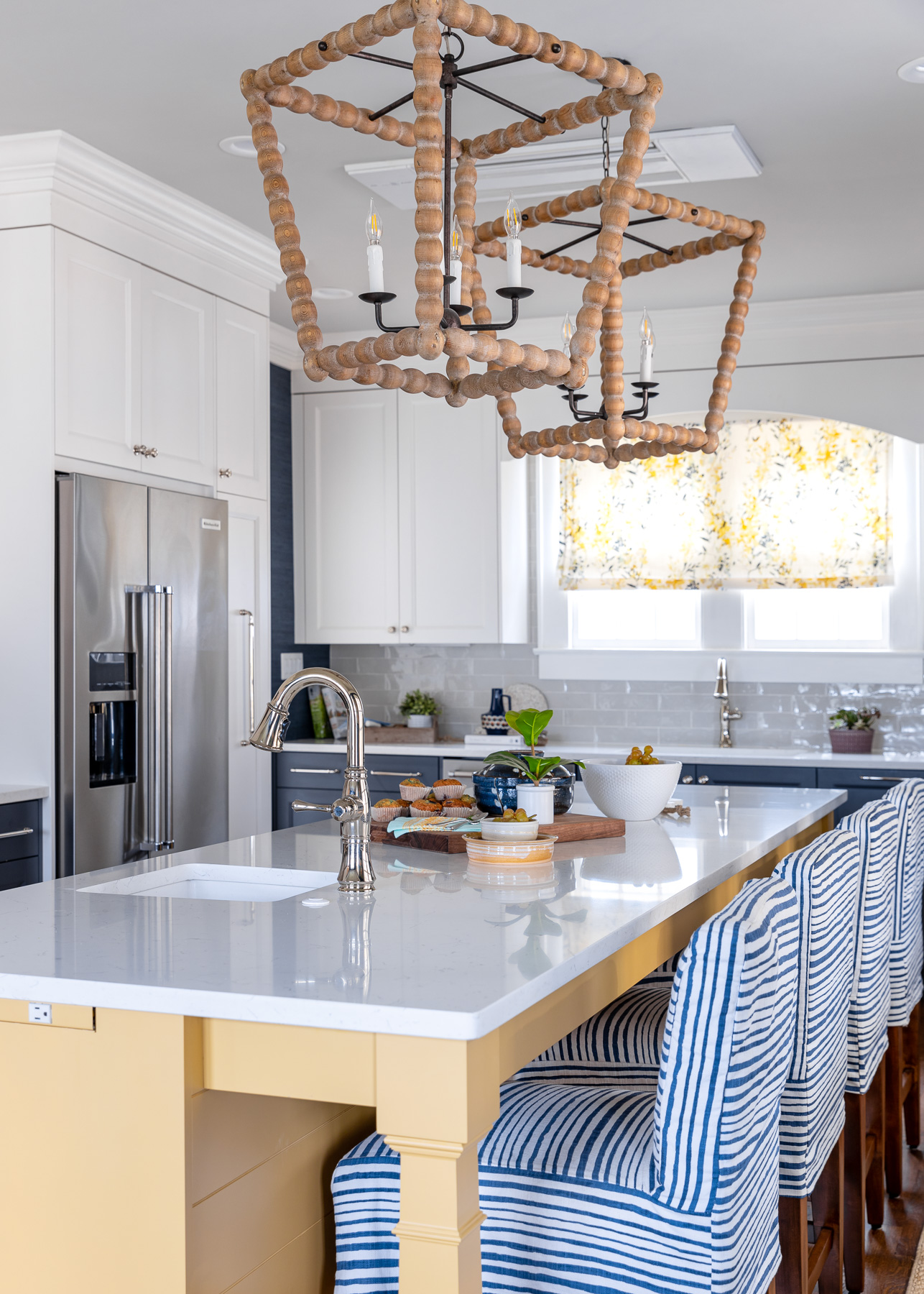 blue striped counter stools