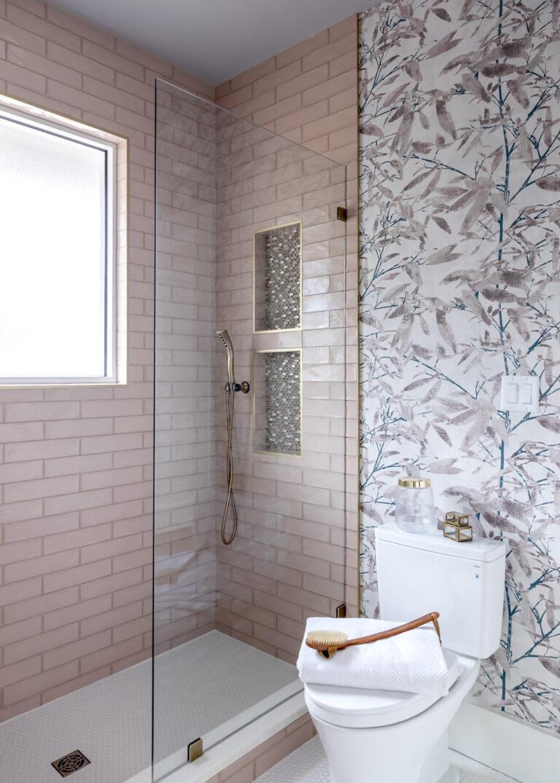 pink tile, white tile, floral wallpaper, jack and jill bathroom