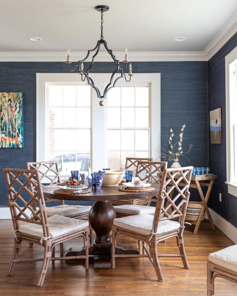 navy blue textured grass cloth wallpaper