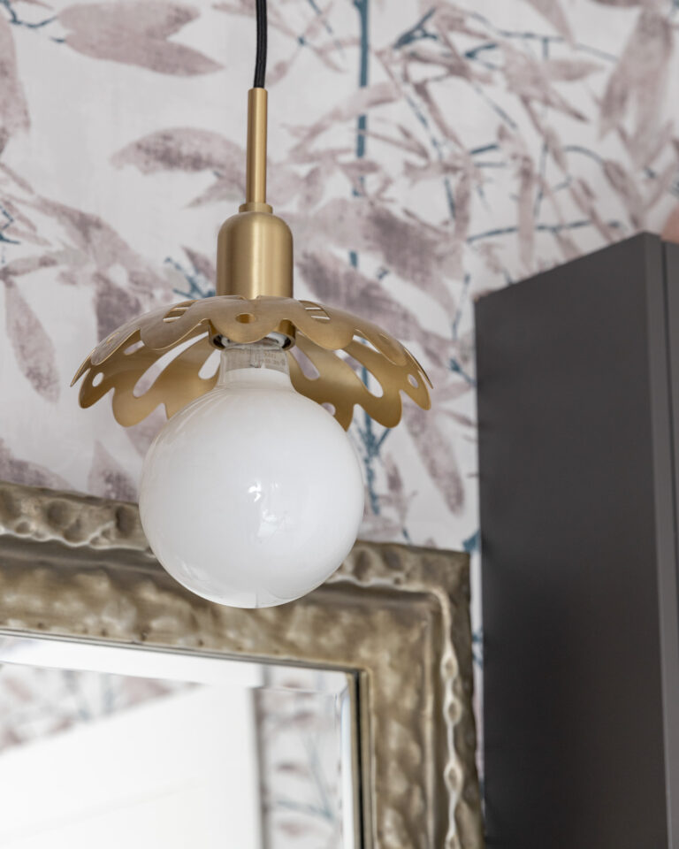 Brass Pendant in Jill and Jack bathroom with pink and grey floral wallpaper