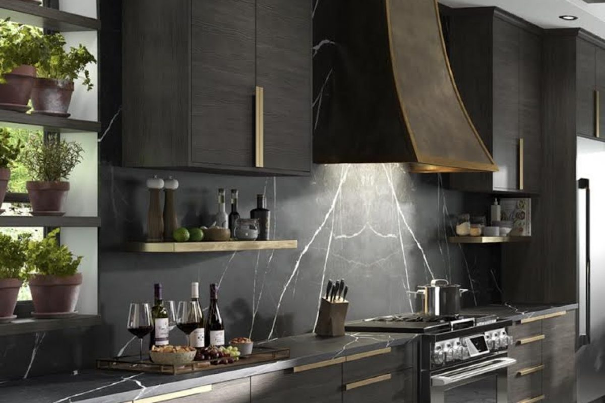 stone flooring, dark wood cabinets, black and white kitchen backsplash, natural materials, nature