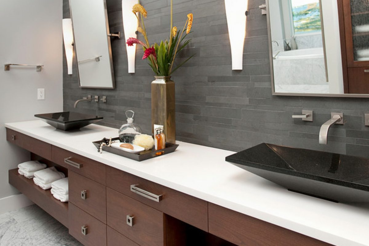 New construction bachelor pad master bath: modern beach home, thermostatic shower, carrera marble, faux floating vanity