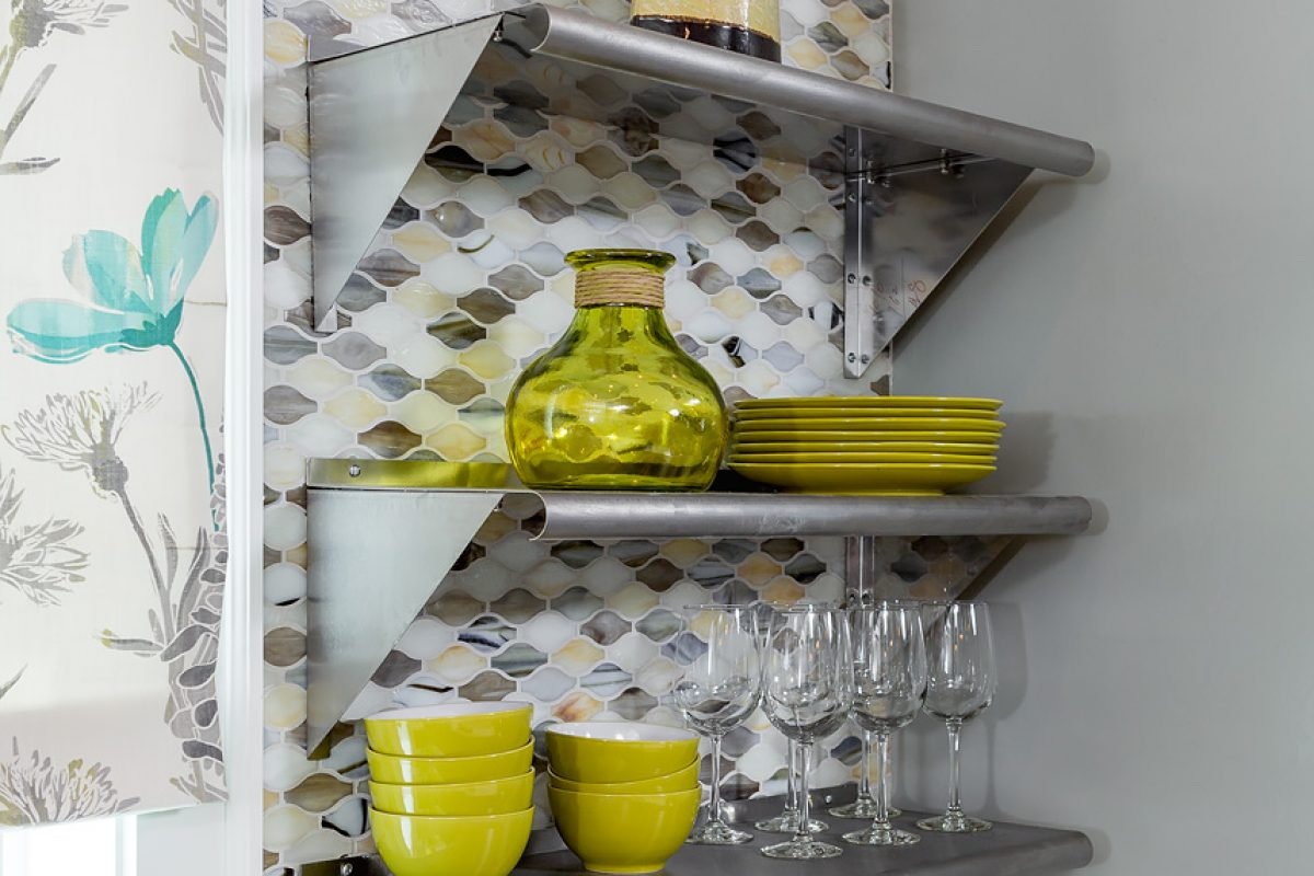 open kitchen metal shelves with tile backsplash window treatment