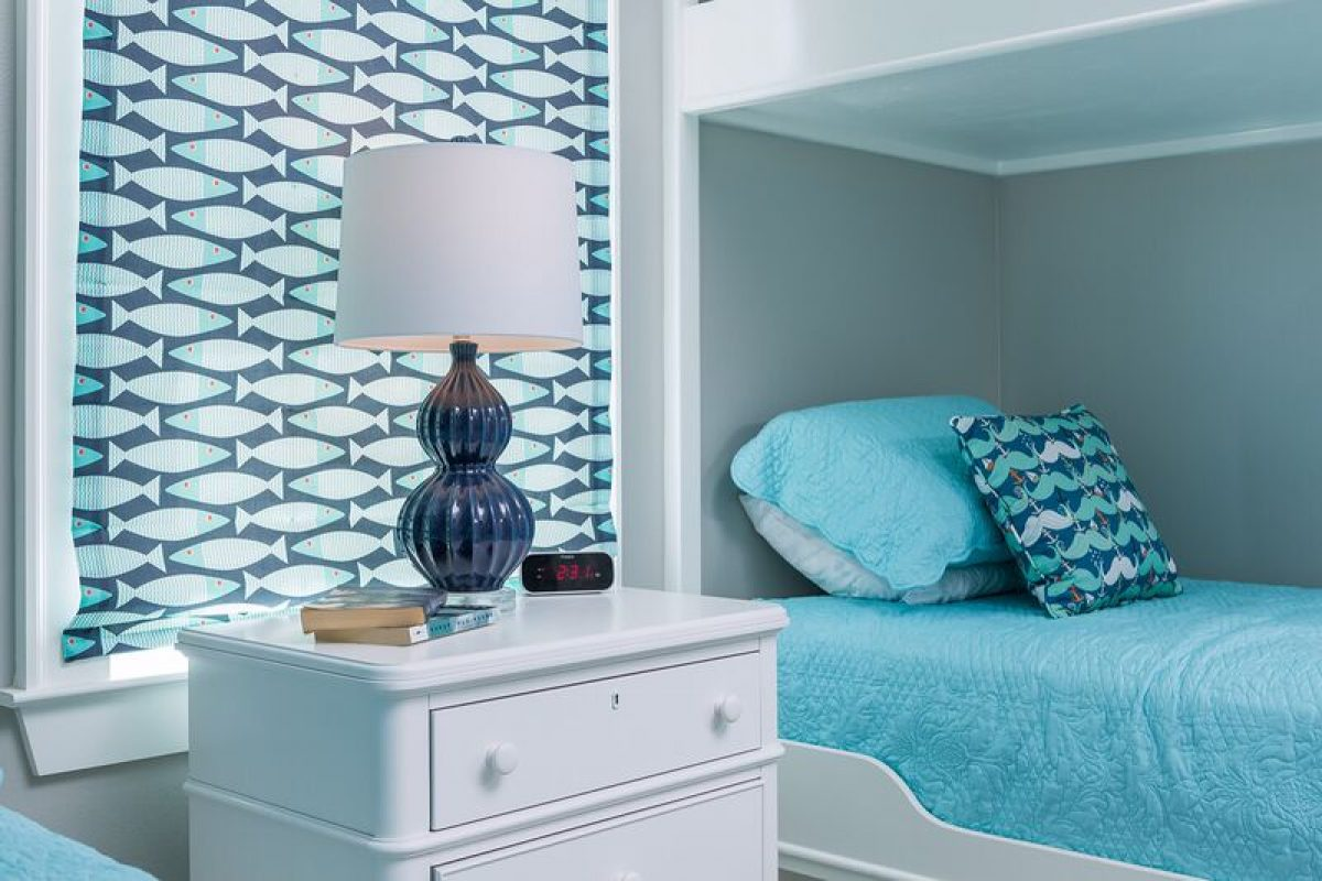 coastal blue and white bedroom with bunk beds