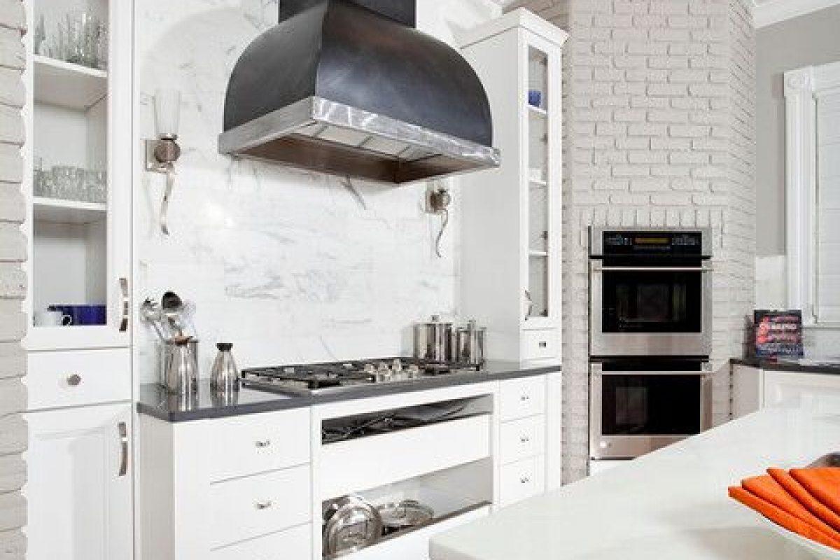 classic kitchen remodel, white kitchen, modern touches, cambria quartz, custom hood, cold rolled steel